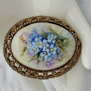 VTG Blue Flower Bouquet Brooch or Pendant